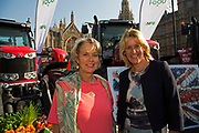 Baroness McIntosh of Pickering with NFU Vice President Minette Batters at the National Farmers Union NFU took machinery, produce, farmers and staff to Westminster to encourage Members of Parliament to back British farming, post Brexit on 14th September 2016 in London, United Kingdom. MPs were encouraged to sign the NFU's pledge and wear a British wheat and wool pin badge to show their support.