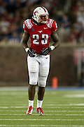 DALLAS, TX - AUGUST 30: Stephon Sanders #23 of the SMU Mustangs looks on against the Texas Tech Red Raiders on August 30, 2013 at Gerald J. Ford Stadium in Dallas, Texas.  (Photo by Cooper Neill/Getty Images) *** Local Caption *** Stephon Sanders