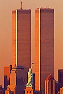 Statue of Liberty Between Twin Towers, World Trade Center at Sunset, New York City, New York, designed Minoru Yamasaki