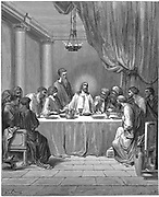 Jesus and his disciples at the Last Supper. Mark 14:22. From Gustave Dore 'Bible', 1866. Wood engraving