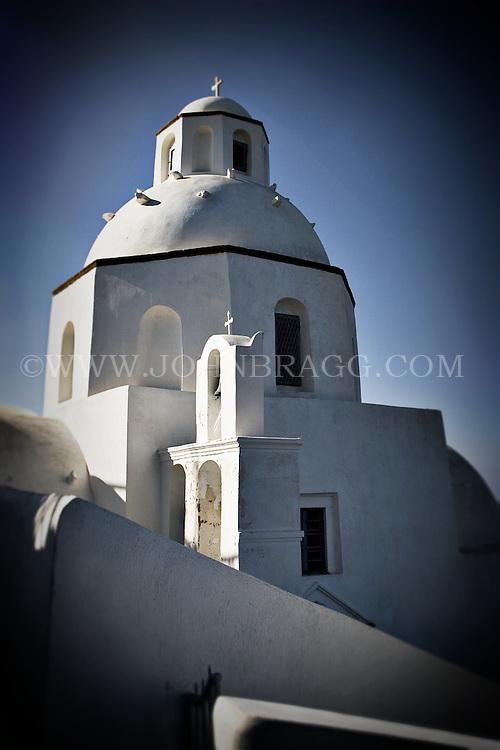 A white church in Santorini, Greece