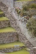 Rice terrace and stairs on the south side of Machu Picchu, Cusco Region, Urubamba Province, Machupicchu District in Peru, South America