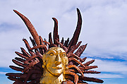 Metal indian head sculpture by Ricardo Breceda at Galleta Meadows Estate, Borrego Springs, California USA