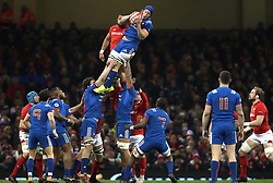 France's Wenceslas Lauret (centre right) wins ball in the lineout during the NatWest 6 Nations match at the Principality Stadium, Cardiff.