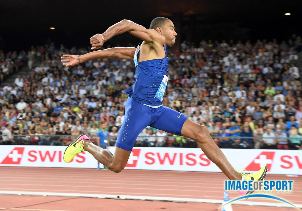 Sep 1, 2015; Zurich, SWITZERLAND; Christian Taylor (USA) wins the triple jump at 58-4 3/4 (17.80m) at the 2016 Weltklasse Zurich during an IAAF Diamond League meeting at Letzigrund Stadium. Photo by Jiro Mochizuki