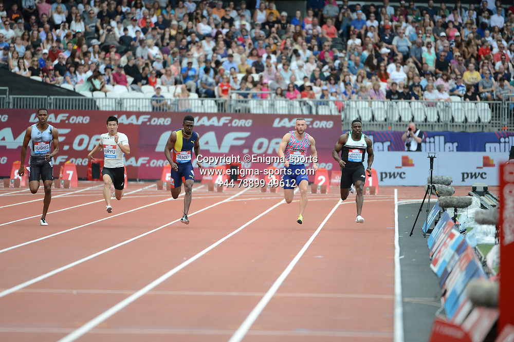The 2nd men's 100m heat during the IAAF Diamond League at the Queen Elizabeth Olympic Park London, England on 20 July 2019.