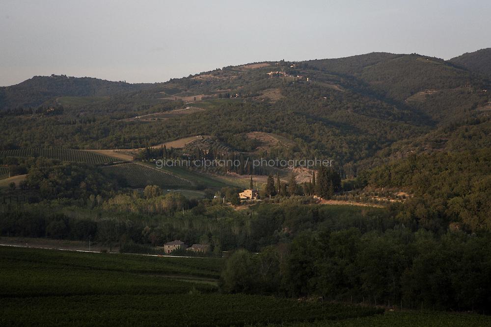 Greve in Chianti, Italy - 9 September 2014: View of the Chianti region landscape in Tuscany, in Greve in Chianti, Italy, on September 9th 2014.