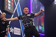Gerwyn Price celebrates during the William Hill World Darts Championship Semi-Finals at Alexandra Palace, London, United Kingdom on 2 January 2021.