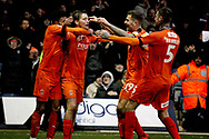 Luton Town midfielder Luke Berry (8) celebrates with team mates after making it 4-0 during the EFL Sky Bet League 1 match between Luton Town and Peterborough United at Kenilworth Road, Luton, England on 19 January 2019.