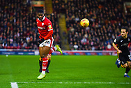 Mamadou Thiam of Barnsley (26) flicks the ball on during the EFL Sky Bet League 1 match between Barnsley and Bradford City at Oakwell, Barnsley, England on 12 January 2019.