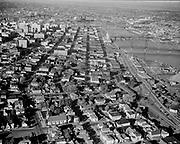 Y-551005-09. aerial of SW Portland South Auditorium Urban Renewal area looking north.  October 5, 1955.