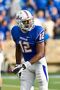 Dec 1, 2012; Tulsa, Ok, USA; Tulsa Hurricanes wide receiver Jordan James (12) looks down the line during a game against the University of Central Florida Knights at Skelly Field at H.A. Chapman Stadium. Tulsa defeated UCF 33-27 in overtime to win the CUSA Championship. Mandatory Credit: Beth Hall-USA TODAY Sports