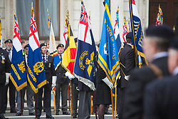 © Licensed to London News Pictures. 10/09/2017. London, UK.  Royal Navy Association memorial event in front of the Cenotaph in Whitehall. The event is the first to be protected by Hostile Vehicle Mitigation Equipment (not seen), referred to internally by the Met Police as Talon. The wide mats contain a double row of barbed spikes that disable any vehicle driving over them by wrapping the netting around the front wheels. This differs from stingers or stop sticks which merely deflate the tyres allowing the vehicle to continue.   Photo credit: Cliff Hide/LNP