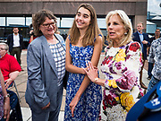 28 JUNE 2019 - DES MOINES, IOWA: Dr. JILL BIDEN, right, accompanied by her granddaughter, NATALIE BIDEN, center, and Polk County (IA) Treasurer MARY MALONEY, left, greets voters at the Biden was in Des Moines Friday to campaign for her husband, former Vice President Joe Biden. Vice President Biden, who was Vice President for 8 years during the Obama administration, is one of the Democratic front runners for the Presidency. Iowa traditionally hosts the the first selection event of the presidential election cycle. The Iowa Caucuses will be on Feb. 3, 2020.              PHOTO BY JACK KURTZ