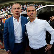 Istanbul Basaksehir's coach Abdullah Avci (L) and Fenerbahce's coach Ismail Kartal (R) during their Turkish Super League soccer match Istanbul Basaksehir between Fenerbahce at the Basaksehir Fatih Terim Arena at Basaksehir in Istanbul Turkey on Monday, 25 May 2015. Photo by Aykut AKICI/TURKPIX