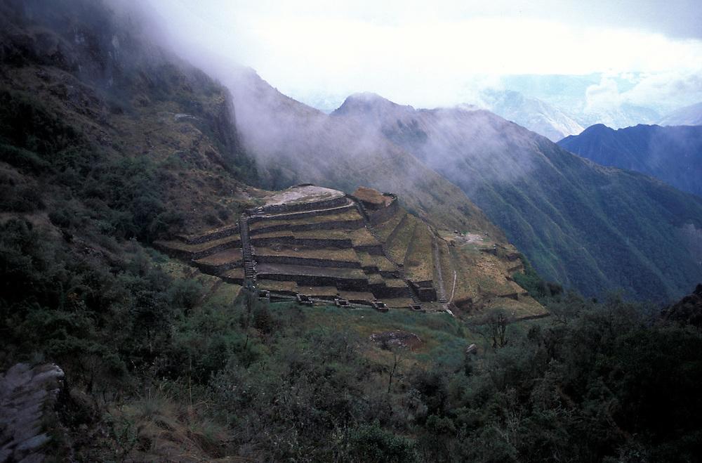 Incan ruins of Sayacmarca, along the Inca Trail, Cuzco, Peru