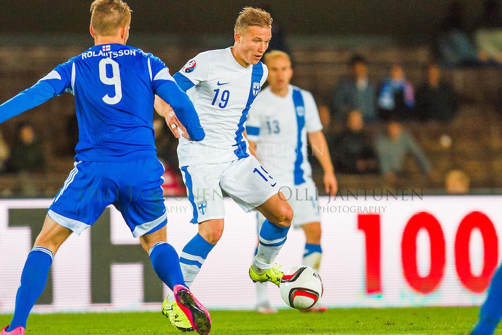 Suomen Alexander Ring EM2016-karsintaottelussa Suomi-Färsaaret. Olympiastadion, Helsinki, Suomi. 7.9.2015.