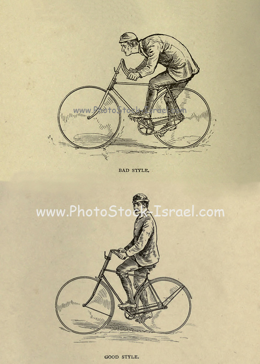 Good and Bad cycling Style from 'Cycling' by The right Hon. Earl of Albemarle, William Coutts Keppel, (1832-1894) and George Lacy Hillier (1856-1941); Joseph Pennell (1857-1926) Published by London and Bombay : Longmans, Green and co. in 1896. The Badminton Library