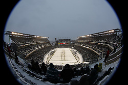 A General View of Lincoln Financial Field after a snow storm during the NFL game between the Detroit Lions and the Philadelphia Eagles on Sunday, December 8th 2013 in Philadelphia. The Eagles won 34-20.  This image was taken with a fisheye lens. (Photo by Brian Garfinkel)