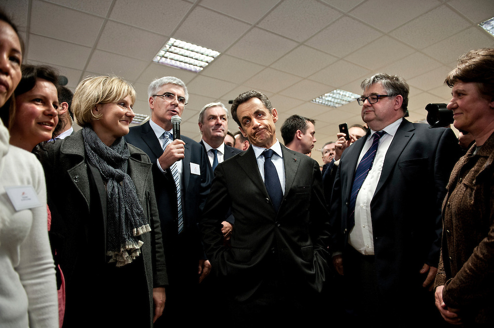 Nicolas Sarkozy, the french president, 2 days before his defeat in the french presidential election. France, Dijon - April 27th 2012.