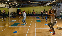 North Berwick, East Lothian, Scotland, United Kingdom, Sports Centres reopen: East Lothian Council's Enjoy Leisure sports centres reopen today with social distancing, bookable sessions and hygiene measures in place in line with the Scottish Government's guidelines in the next phase of lockdown easing, on the day that new social restrictions come into force. Pictured: women at the first exercise class at North Berwick sports centre.<br /> Sally Anderson   EdinburghElitemedia.co.uk