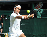 Tennis - 2021 All England Championships - Week One - Day Six (Saturday) - Wimbledon<br /> Mens Singles<br /> Roger Federer v Cameron Norrie<br /> <br /> Roger Federer<br /> <br /> <br /> CreditCOLORSPORT/Andrew Cowie