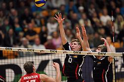 04.09.2010, Anhalt Arena, Dessau, GER, Vorbereitung Volleyball WM 2010, Laenderspiel Deutschland ( GER ) vs. Russland ( RUS ) 1:3, im Bild Maxim Mikhaylov (#17 RUS) - Max Guenthoer (#15 GER), Sebastian Schwarz (#3 GER). EXPA Pictures © 2010, PhotoCredit: EXPA/ nph/   Conny Kurth+++++ ATTENTION - OUT OF GER +++++