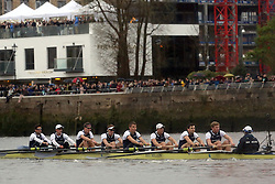 © Licenced to London News Pictures. 06/04/2014. London. UK.  <br /> Oxford University Blue boat are seen cementing their victory over Cambridge University in the annual BNY Mellon Boat Race between the two crews in London, April 6th 2014. Oxford beat Cambridge.<br /> Photo Credit: Susannah Ireland