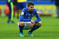 November 13, 2017 - Milan, Italy - FIFA World Cup Qualifiers play-off Switzerland v Northern Ireland.The disappointment of Frello Jorginho of Italy at the end of the match at San Siro Stadium in Milan, Italy on November 13, 2017. (Credit Image: © Matteo Ciambelli/NurPhoto via ZUMA Press)