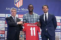 26.07.2015, Estadio Vicente Calderon, Madrid, ESP, Primera Division, Athletico Madrid, Spieler Neuzugang, im Bild Atletico Madrid's President Enrique Cerezo (L), Jose Luis Perez Caminero (R) and Jackson Martinez // during his official presentation as a new player of the Spanish Primera Division Club Atletico de Madrid at the Estadio Vicente Calderon in Madrid, Spain on 2015/07/26. EXPA Pictures © 2015, PhotoCredit: EXPA/ Alterphotos/ Victor Blanco<br /> <br /> *****ATTENTION - OUT of ESP, SUI*****