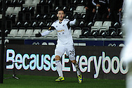 Swansea's Alvaro Vazquez reacts after his 1st half goal is dissallowed.UEFA Europa league match, Swansea city v Valencia at the Liberty Stadium in Swansea on Thursday 28th November 2013. pic by Andrew Orchard, Andrew Orchard sports photography,