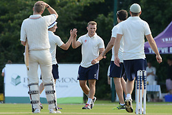 Nick Carpenter of Bristol Rugby celebrates with team mates as he takes a catch during an exhibition game against Bishopston Cricket club  - Photo mandatory by-line: Dougie Allward/JMP - Mobile: 07966 386802 - 29/07/2015 - SPORT - Cricket - Bristol - Westbury Fields - Bishopston CC v Bristol Rugby - Exhibition Game