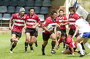 Oxford, England.<br /> <br /> IRB U21 Rugby World Cup - Iffley Road - Oxford <br /> 21.06.2003. Italy vs Japan, [Mandatory Credit: Peter SPURRIER/Intersport Images]  <br /> Japanese players support Tomoaki Taniguchi breaking with the ball