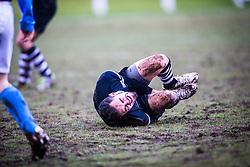 Edusport Academy Axel Bacquet injured. <br /> Whitehill Welfare 2 v 1 Edusport Academy, South Challenge Cup Quarter Final played 7/3/2015 at Ferguson Park, Carnethie Street, Rosewell.