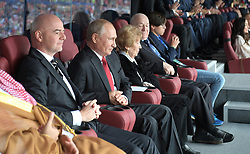 June 14, 2018 - Moscow, Russia - June 14, 2018. - Russia, Moscow. - Russian President Vladimir Putin and FIFA President Gianni Infantino (left) attend the 2018 FIFA World Cup opening ceremony at Luzhniki Stadium ahead of the match between the national teams of Russia and Saudi Arabia. (Credit Image: © Russian Look via ZUMA Wire)