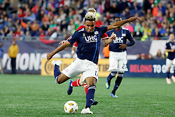 September 22, 2018 - Foxborough, MA, U.S. - FOXBOROUGH, MA - SEPTEMBER 22: New England Revolution forward Juan Agudelo (17) gets a shot away during a match between the New England Revolution and the Chicago Fire on September 22, 2018, at Gillette Stadium in Foxborough, Massachusetts. The teams played to a 2-2 draw. (Photo by Fred Kfoury III/Icon Sportswire) (Credit Image: © Fred Kfoury Iii/Icon SMI via ZUMA Press)