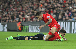 Philippe Coutinho of Liverpool (R) and Kyle Walker of Tottenham Hotspur - Mandatory by-line: Jack Phillips/JMP - 11/02/2017 - FOOTBALL - Anfield - Liverpool, England - Liverpool v Tottenham Hotspur - Premier League