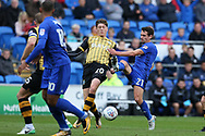 Craig Bryson of Cardiff city ® is challenged by Adam Reach of Sheffield Wednesday. EFL Skybet championship match, Cardiff city v Sheffield Wednesday at the Cardiff City Stadium in Cardiff, South Wales on Saturday 16th September 2017.<br /> pic by Andrew Orchard, Andrew Orchard sports photography.