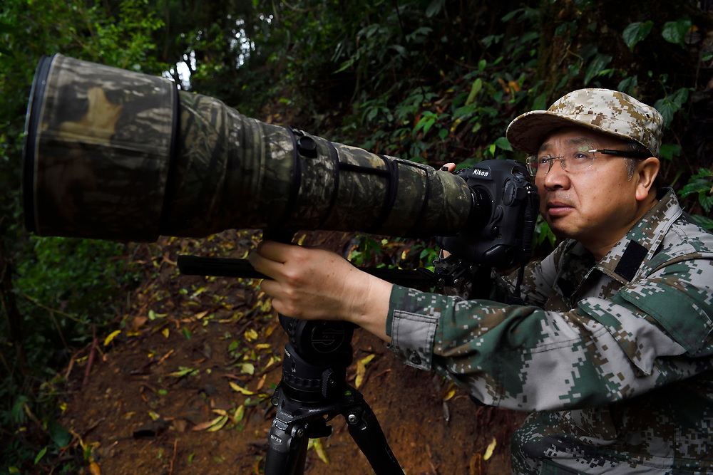 Photographer Wei Jun working in the He Xin Chang Forest reserve, Dehong Prefecture, Yunnan Province, China