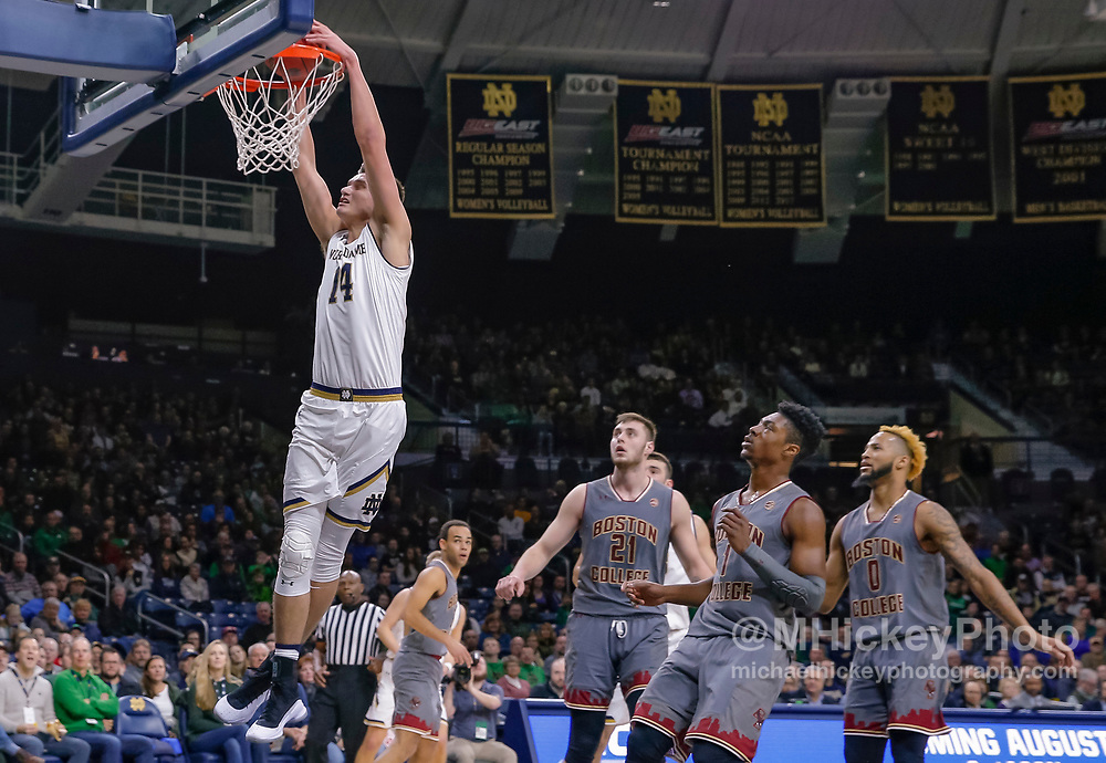 SOUTH BEND, IN - JANUARY 12: Nate Laszewski #14 of the Notre Dame Fighting Irish goes up for the dunk during the game against the Boston College Eagles at Purcell Pavilion on January 12, 2019 in South Bend, Indiana. (Photo by Michael Hickey/Getty Images) *** Local Caption *** Nate Laszewski