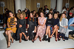 (l-r) Lilah Parsons, Fleur East, Amber Le Bon, Ella Hunt, Olivia Cox and Niomi Smart on the front row during the Daks London Fashion Week SS18 show held at the Langham Hotel, London. Picture date: Friday September 16th, 2017. Photo credit should read: Matt Crossick/ EMPICS Entertainment.