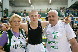 Edo Muric celebrates with his mother and father after the basketball match between KK Krka and Union Olimpija in 5th Round of Final of Slovenian National Championship, on June 11, 2011 in  Arena Leon Stukelj, Novo mesto, Slovenia. Krka defeated Union Olimpija 64-57 and became Slovenian National Champion 2011. (Photo By Vid Ponikvar / Sportida.com)
