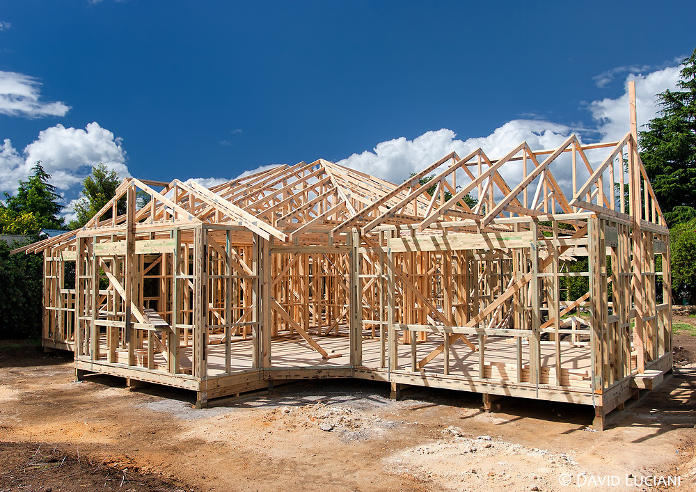 A wooden-frame house under construction in Rotorua.