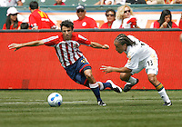 20 May 2007: Midfielder Cobi Jones chases the soccer ball from Chivas defender Jonathan Bornstein during a 1-1 tie for MLS Chivas USA vs. Los Angeles Galaxy pro soccer teams at the Home Depot Center in Carson, CA.