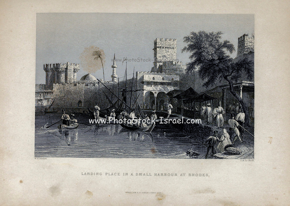 landing place at a Small Harbour on Rhodes [Greece] From Volume 2 of Syria, the Holy Land, Asia Minor, &c. by Carne, John, 1789-1844; Illustrated by Bartlett, W. H. (William Henry), 1809-1854, and Allom, Thomas, 1804-1872 Published in London in 1837