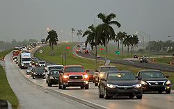 Traffic heads north along the Florida Turnpike near Homestead as tourists in the Florida Keys leave town on Wednesday, September 6, 2017. Photo by Al Diaz/Miami Herald/TNS/ABACAPRESS.COM