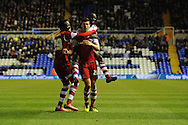 Middlesbrough's Daniel Sanchez Ayala (21) celebrates with teammates after he scores his sides 2nd goal during the Skybet football league championship match, Birmingham city v Middlesbrough at St.Andrew's in Birmingham, England on Sat 7th Dec 2013. pic by Jeff Thomas/Andrew Orchard sports photography.