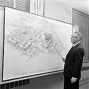 Y-670228-1. Emanuel Hospital. Mr. Hansen and master plan. February 28, 1967