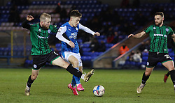 Flynn Clarke of Peterborough United in action with Stephen Dooley of Rochdale - Mandatory by-line: Joe Dent/JMP - 12/12/2020 - FOOTBALL - Weston Homes Stadium - Peterborough, England - Peterborough United v Rochdale - Sky Bet League One