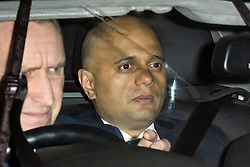 © Licensed to London News Pictures. 06/02/2019. London, UK. Home Secretary SAJID JAVID is seen leaving  Battersea Park in London after the annual Black and White Ball, a fundraiser held by the Conservative Party. Photo credit: Ben Cawthra/LNP